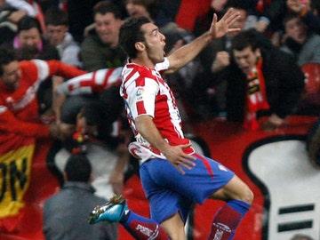 David Barral celebra su gol ante el Barça