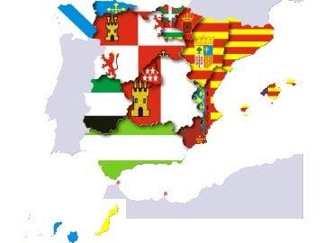 Mapa de España con las banderas de las CC.AA