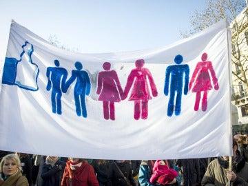 Pancartas a favor del matrimonio homosexual en Francia