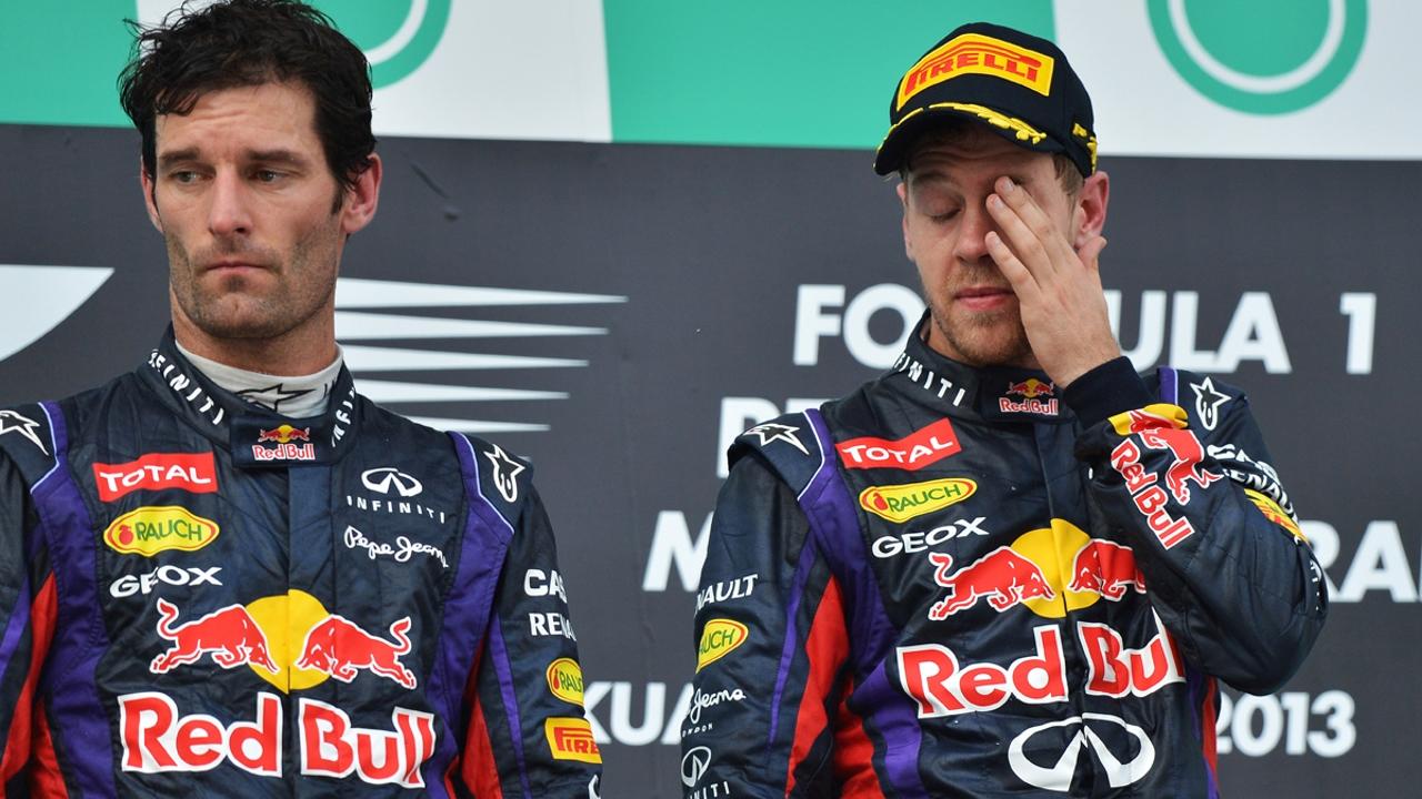 Vettel y Webber, en el podio de Malasia
