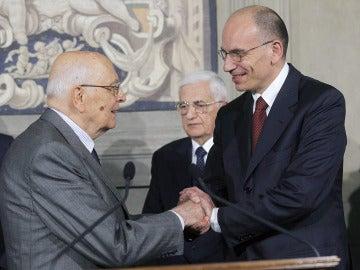 Enrico Letta y Giorgio Napolitano