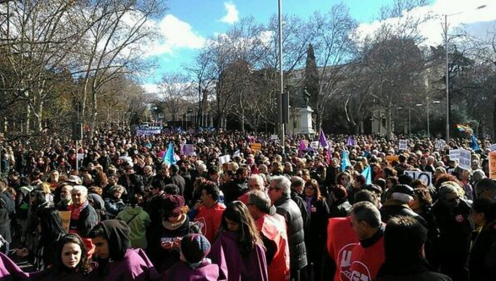 La 'Marea Malva' contra la ley del aborto de Gallardón, en Madrid