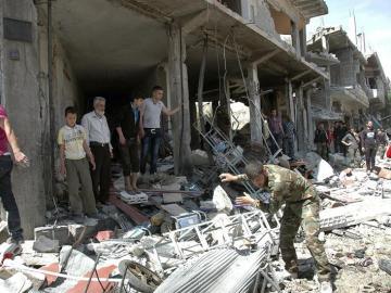 Una calle de Homs después de un atentado (Archivo)