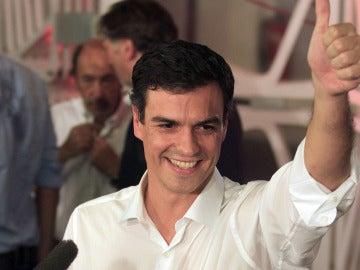 Pedro Sánchez celebrando su victoria en las elecciones a la secretaría general del PSOE