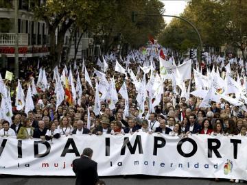 Cabeza de la manifestación celebrada en Madrid, convocada por medio centenar de asociaciones provida