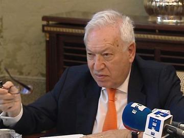 El ministro de Asuntos Exteriores, José Manuel García-Margallo, tras su comparecencia