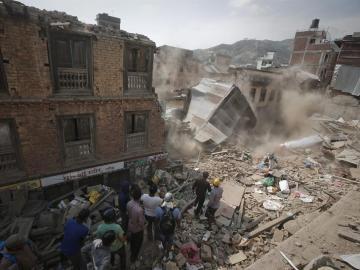 Zona devastada en Nepal