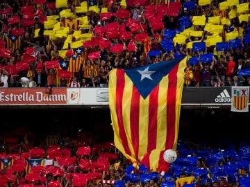 La 'senyera' en la final de la Copa del Rey