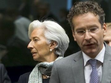 La directora gerente del FMI, Christine Lagarde, y el presidente del Eurogrupo, Jeroen Dijsselbloem