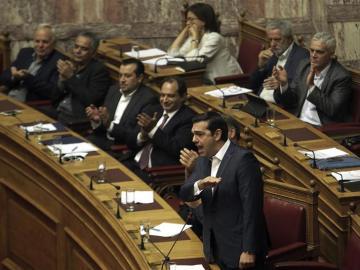 Alexis Tsipras, durante un debate parlamentario