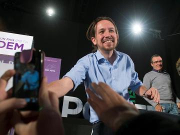 Pablo Iglesias, a su llegada al principal mitin de Podemos en Baleares