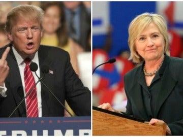 Los precandidatos a la presidencia de EEUU, Hillary Clinton y Donald Trump