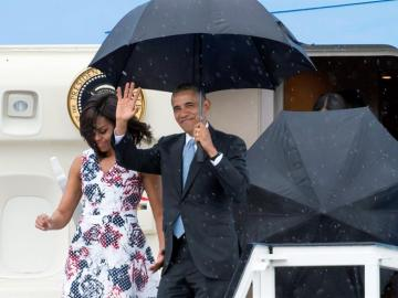 Obama a su llegada a EEUU