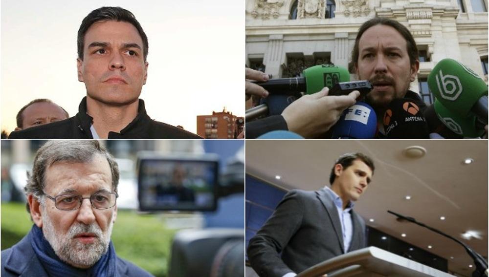 Pedro Sánchez, Pablo Iglesias, Mariano Rajoy y Albert Rivera