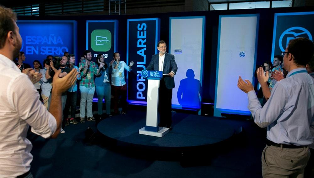 Mariano Rajoy en una convención con las Nuevas Generaciones del PP