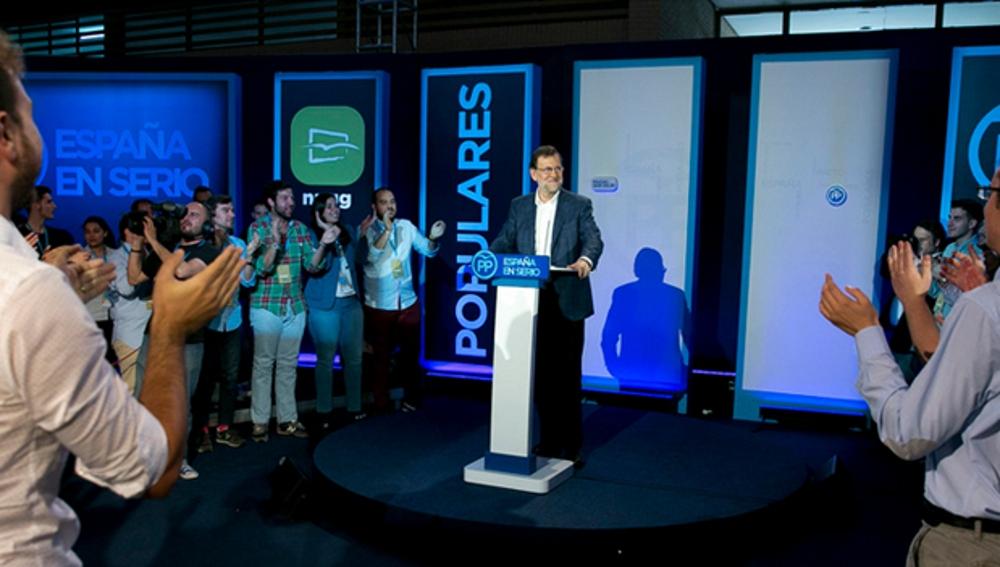 Mariano Rajoy en una convención de las Nuevas Generaciones del PP