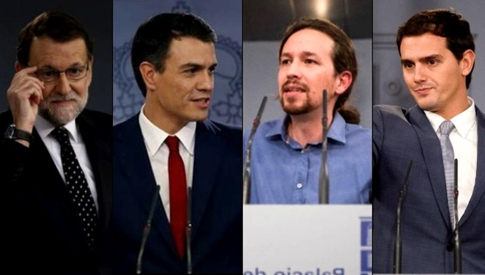 Rajoy, Sánchez, Iglesias y Rivera en ruedas de prensa