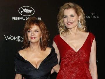 Las actrices Geena Davis y Susan Sarandon en una gala en Cannes