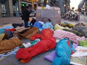 Miembros del SAT acampados en la Puerta del Sol por la libertad de Bódalo