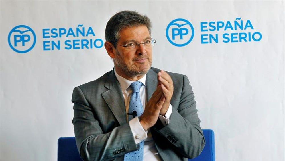 El ministro de Justicia en funciones, Rafael Catalá