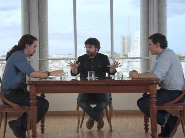 Jordi Évole, en el cara a cara entre Albert Rivera y Pablo Iglesias