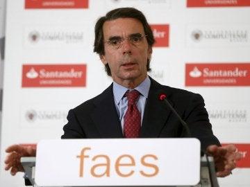 José María Aznar, durante un acto de FAES