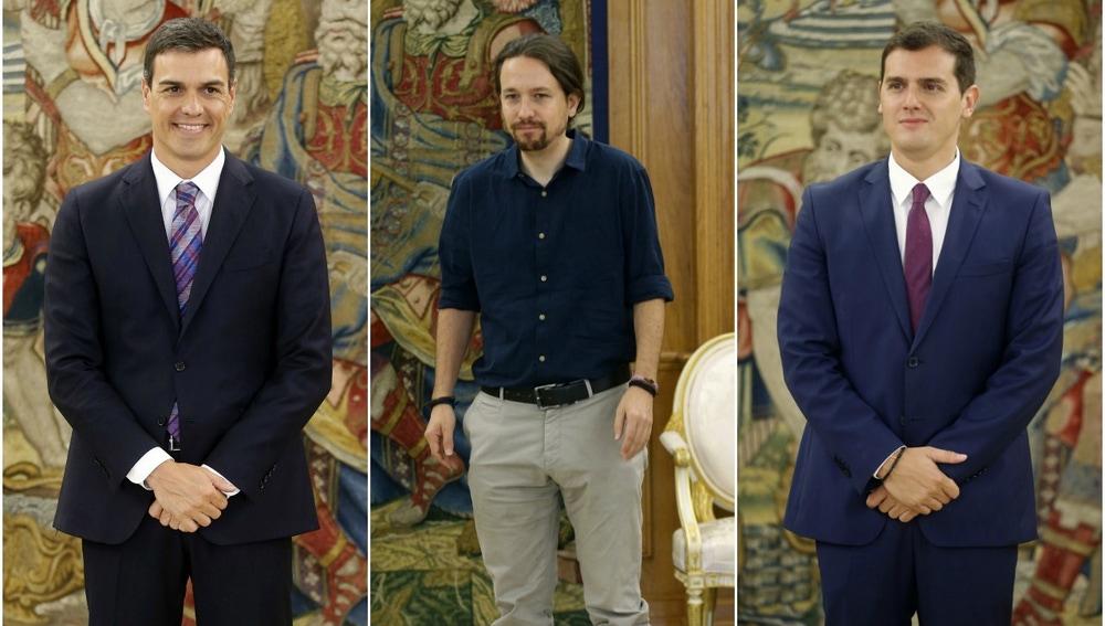 Sánchez, Iglesias y Rivera