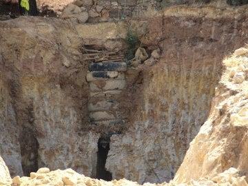 Zona en la que se han desarrollado las labores de rescate del hombre que buscaba un tesoro en Zamora