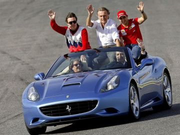 Rita Barberá y Francisco Camps, en el circuito de Fórmula 1 de Valencia