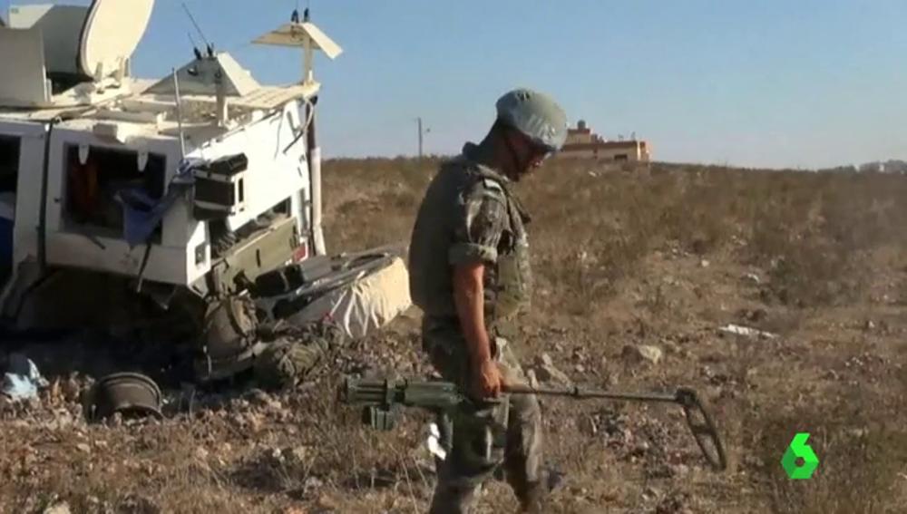 Frame 15.687614 de: Cuatro soldados españoles salen ilesos de la explosión de una mina en Líbano