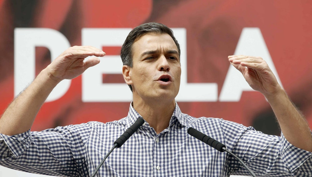El secretario general del PSOE, Pedro Sánchez, durante su intervención en la fiesta de la Rosa del PSC