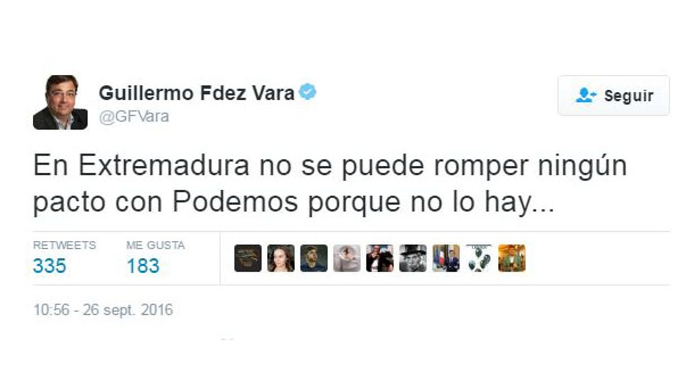Guillermo Fernández Vara en Twitter