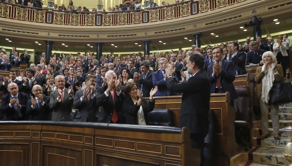 Mariano Rajoy celebrando su triunfo