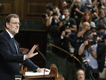 Mariano Rajoy durante su intervención en el debate de investidura