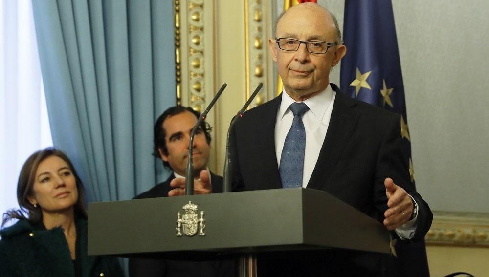 El ministro de Hacienda y Función Pública, Cristóbal Montoro, durante su intervención