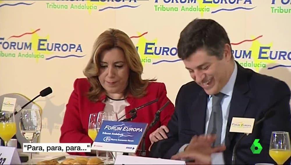 Susana Díaz junto al ministro de Economía de Portugal