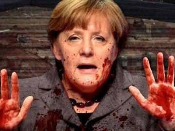 La ultraderecha difunde la imagen de Merkel con las manos ensangrentadas