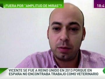"""Frame 52.381034 de: Vicente se marchó a Reino Unido en 2013: """"Me vine por necesidad no porque me guste conocer Europa"""""""