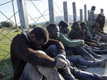 Imagen de archivo de un grupo de migrantes