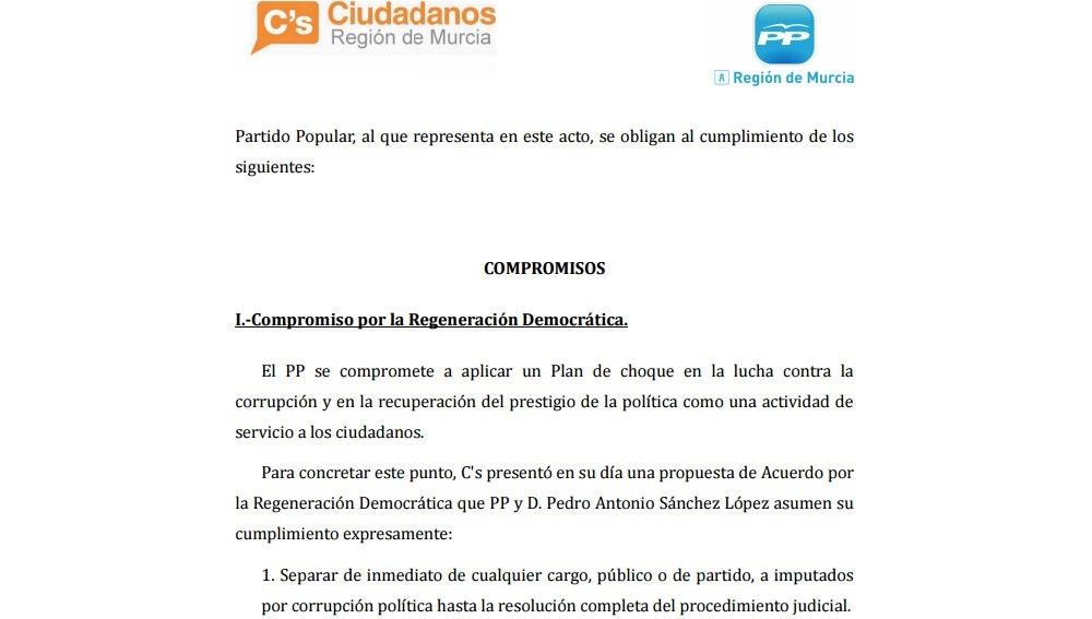 Pacto de PP y Ciudadanos en Murcia