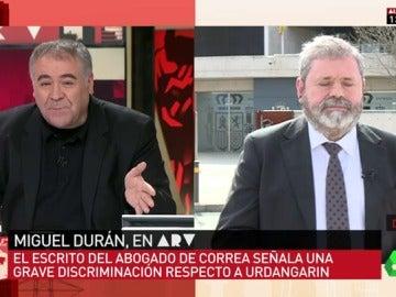 """Frame 8.388138 de: Miguel Durán, abogado de Crespo: """"El tribunal que ha condenado a mi cliente no hubiera tenido la misma 'heroicidad' con Urdangarin"""""""