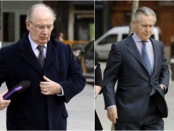 Rodrigo Rato y Miguel Blesa a la llegada a la Audiencia Nacional