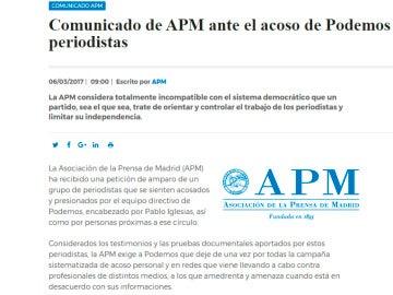 Comunicado de la APM