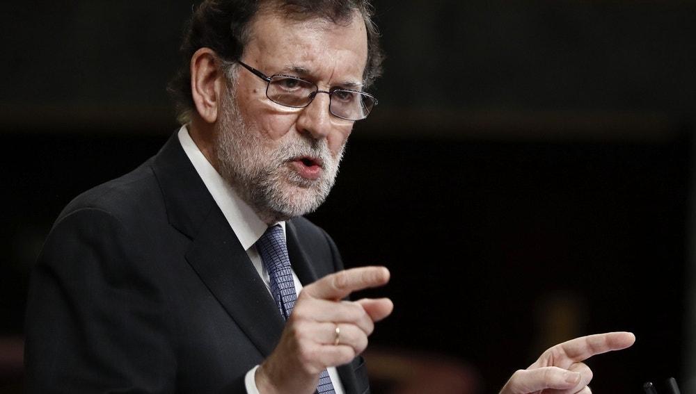 Mariano Rajoy, durante su intervención ante el pleno del Congreso donde expone las conclusiones del último Consejo Europeo