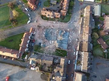 Vista aérea desde donde ha tenido lugar la explosión de gas.