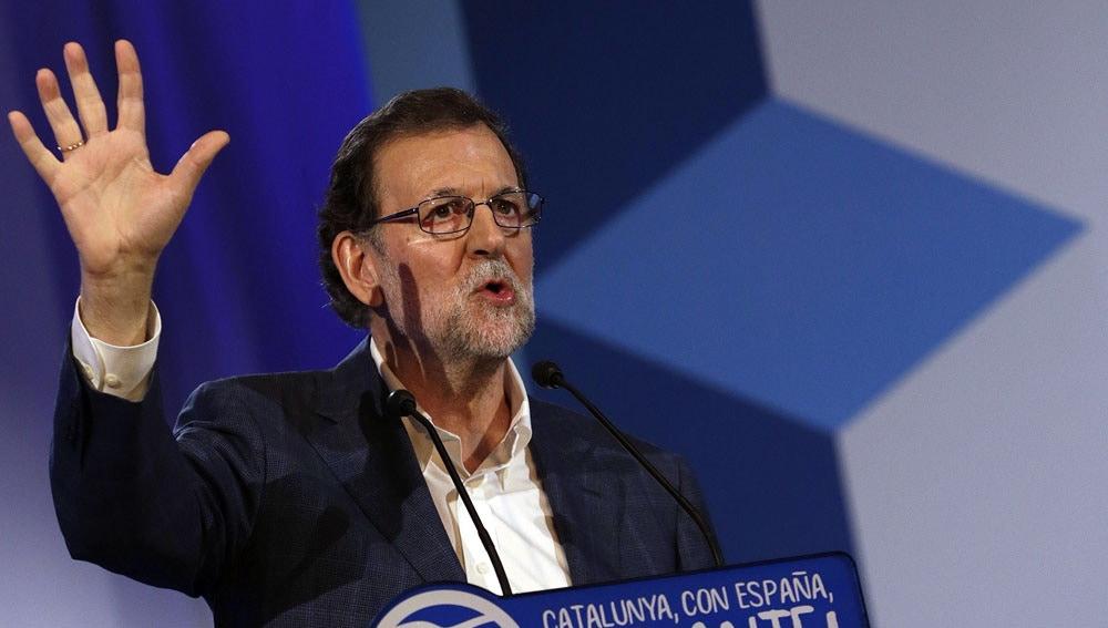 Mariano Rajoy en un congreso del PP catalán