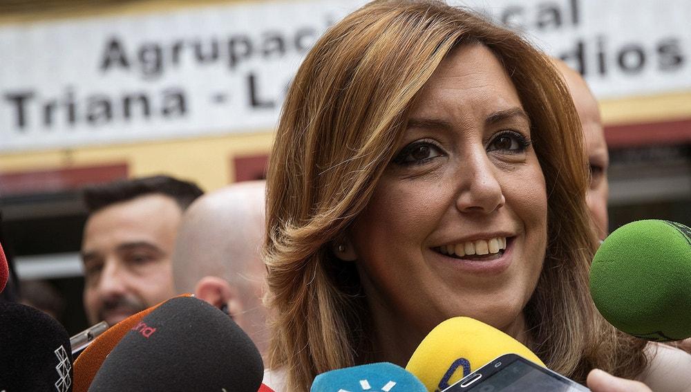 Susana Díaz, tras votar en las primarias del PSOE