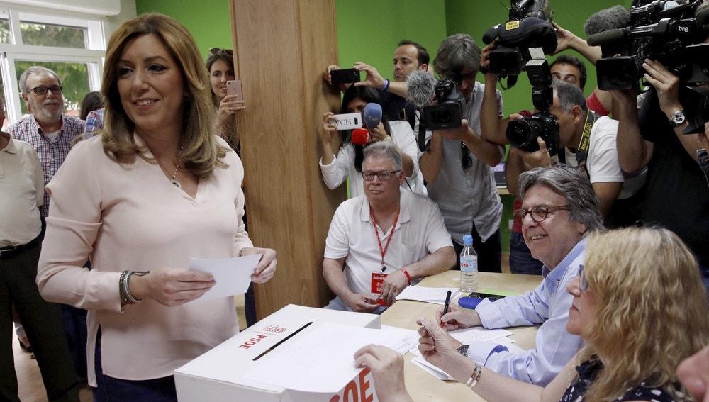 La presidenta andaluza y la candidata a la Secretaría General del PSOE, Susana Díaz