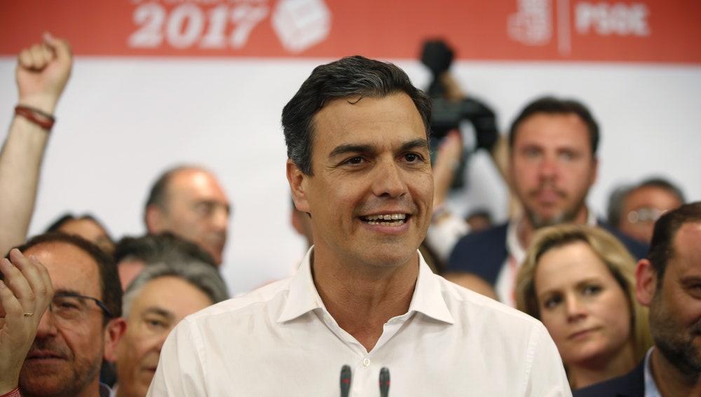 Pedro Sánchez, tras ganar las primarias del PSOE