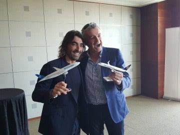 avier Hidalgo y Michael O'Leary durante el anuncio de acuerdo entre Air Europa y Ryanair
